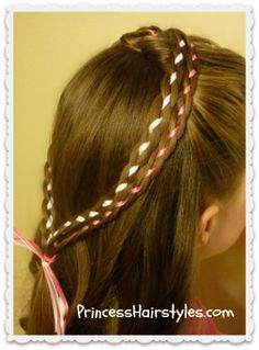 double braid heart with ribbon hairstyle