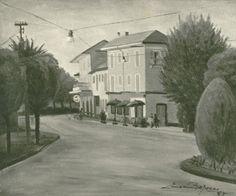 Ermanno Besozzi pittore 1955 Via alla stazione di Sesto Calende olio su tela arc. 793