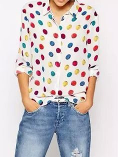 Multicolor Polka Dot Long Sleeve Shirt   Choies
