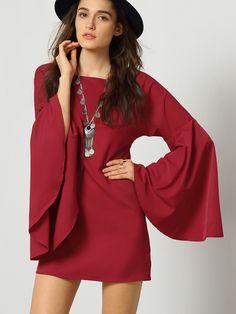 Burgundy Long Sleeve Ruffle Dress...I would wear with leggings