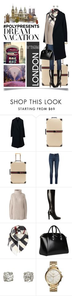 """""""#PolyPresents: Dream Vacation In London, England"""" by ittie-kittie ❤ liked on Polyvore featuring CÉLINE, Globe-Trotter, Lands' End, Yves Saint Laurent, Burberry, Givenchy, FOSSIL, england, London and contestentry"""