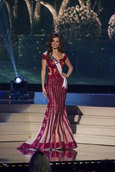Lara Debbane, Miss Egypt 2014 competes on stage in her evening gown during the Miss Universe Preliminary Show in Miami, Florida on January 21, 2015
