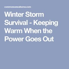 Winter Storm Survival - Keeping Warm When the Power Goes Out Power Outage, Winter Storm, Winter House, House Warming, Going Out, Survival, Bright Ideas