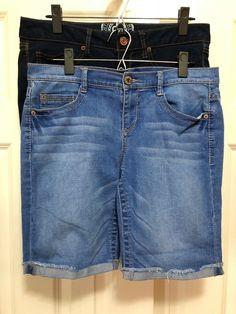 7e4ac1acb2 SO Mudd Juniors Shorts Size 11 Lot Bermuda Longer Length Stretch Denim 9  Length #fashion