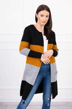 Krásny kardigán na jarné a jesenné počasie farba horčica čierna Sweaters, Fashion, Moda, Fashion Styles, Sweater, Fashion Illustrations, Sweatshirts, Pullover Sweaters, Pullover