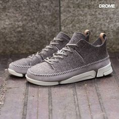 Out Now: The Clarks Shoes Trigenic Wool Shoe in Grey Felt is defined by a thick textile wool upper. Available in UK sizes 7-11.  Click the link in the bio to shop the Latest from DROME.  #DROME #Clarks #shoes #menswear #style #fashion #trigenic by dromemenswear