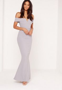 Missguided Crepe Bardot V Plunge Maxi Dress Grey
