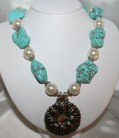 Turquoise Blue Cowgirl Statement Necklace, Large Chunky Pearls with Big Turquoise Nuggets, Western Sunflower Concho Jewelry, Rodeo Statement by 123gemstones, $65.00 USD