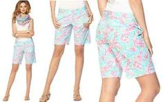 $78 Lilly Pulitzer Chipper Bermuda Spa Blue Lobstah Roll Cotton ...