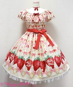 Angelic Pretty Melty Berry Princess OP in ivory