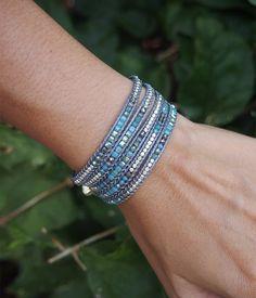 Tiny Blue mix wrap bracelet Boho bracelet Bohemian by G2Fdesign