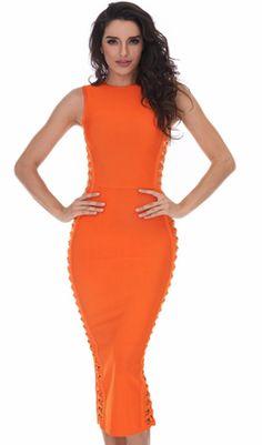 'Muse' Side Weave Bandage Dress - Orange