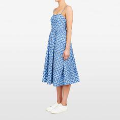 PEACOCK PRINTED DRESS  BLUE/MULTI Blue Dresses, Summer Dresses, Peacock Print, Bodice, Printed, Spring, Skirts, Model, Cotton