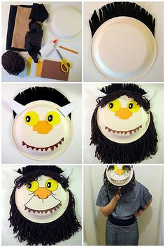 "Where the wild things are masks. This day's thought will be ""What is the wild you like?"" help the kids explore the good and bad of their wild selves. PLUS, since this theme falls on Halloween the kids can use these masks to go trick or treating. Paper Plate Crafts, Book Crafts, Paper Plates, Crafts For Kids, The Gruffalo, Book Week, Children's Literature, Art Plastique, Art Lessons"