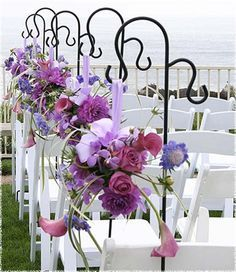 purple and yellow wedding pew decor - Google Search