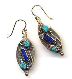 Tibet Earrings made with  18K Gold Filled Wire, Lapis and Turquoise  Earrings made with Beads from Nepal