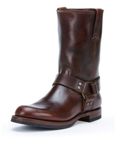 John Addison Leather Harness Boot, Dark Brown