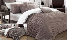 Chic Home Elissa 7 Piece Reversible Duvet Cover Set Size: Queen, Color: Brown Queen Comforter Sets, Duvet Bedding Sets, Comforters, Elissa, Bed In A Bag, Polyester Material, White Pillows, Bed Spreads, Yurts