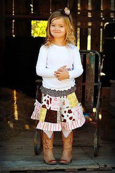 Western Cowgirl Skirt  Patchwork Twirl Skirt, Your Custom Size, NB-5/6