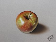 A shiny apple - hyperrealistic speed drawing by marcellobarenghi.deviantart.com on @DeviantArt