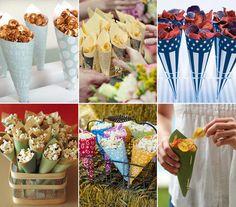 Coloridos, os cones de papel dão charme às porções individuais de pipoca, chips, fritas, nozes, marshmallows, entre outros. Ideiais para uma noite de cinema, um almoço no jardim, um churrasco…