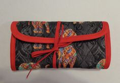 Reserved for Tonya Crochet Hook Black Colorful Elephants Quilted Bag by RoxannasBags on Etsy