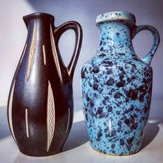 East German two handled small pottery vases made by Veb Haldensleben (blue) and Piesch&Reiff (brown)  #east #german #germany #veb #vebhaldensleben #pottery #ceramic #vase #flowers #midcenturymodern #modern #vintage #retro #70s #moderndesign #design #ornament #studio #art #artist #design #designer #blue #brown #pieschandreiff #anton #piesche #two
