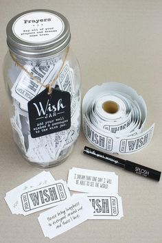 A Wish Jar is designed to collect notes and words of wisdom from guests at any special occasion. Each Wish Jar is packaged in a craft box and includes the following: ~Wish Jar ~Pen ~1 roll of (100+) wish tickets   Prayers Jar by Top Shelf Glasses. Home & Gifts - Gifts - Gifts by Occasion Missouri