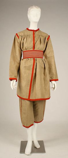 Gym Suit  Date: ca. 1896 Culture: French Medium: linen, cotton, leather, metal