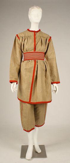 Gym Suit  Date: ca. 1896 Culture: French Medium: linen, cotton, leather, metal