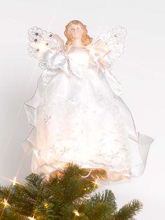 This gorgeous angel sits atop a Christmas Tree, looking elegant, lit up all season long. Unique Tree Toppers, Light Up, Angels, Christmas Tree, Seasons, Elegant, Wedding Dresses, Teal Christmas Tree, Dapper Gentleman