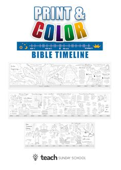 Printable Bible Timeline Kids Can Color & Display.  Great for Home or Church!