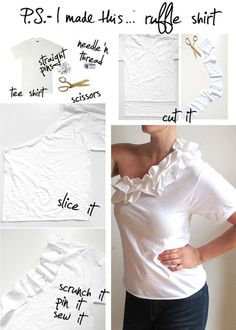 Purchase a pack of white tees (the more tees, the more ruffles you can create).  Cut off a few inches from the bottom hem.  The wider the panel, the larger the ruffle. Cut off one sleeve with sharp fabric scissors for the asymmetrical neck.  Scrunch, pin, and sew to the diagonal neckline.  If your tee is too loose around the underarm, add a few stitches or pin it to achieve the perfect fit!