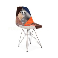 Eames Style DSR Eiffel Midcentury Modern Shell Dining Chair - Patchwork Fabric #FurnitureSourceWorldwide #MidCenturyModern