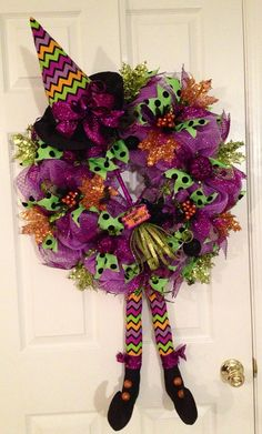 Chevron striped deco mesh witch wreath on Etsy, $75.00