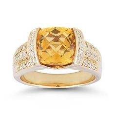Cushion Citrine & Diamond Ring 14kt Yellow Gold