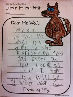 Letter to the Wolf - Little Red Riding Hood writing