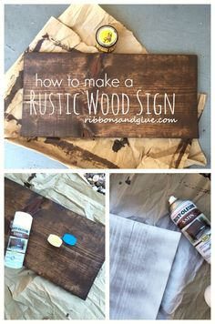 How to make DIY Rustic Wood Sign out of a plain wood board. All you need is stain, spray paint and Vaseline!