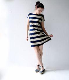 Striped dress, Tunic dress, Jersey tunic, Navy blue, Ecru, Boat neck dress, Tshirt dress, Womens dress, Womens clothing, Aline dress, by larimeloom on Etsy https://www.etsy.com/listing/224912975/striped-dress-tunic-dress-jersey-tunic