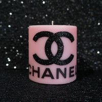 Pink & black Chanel candle<3. Omg. Look at how fucking cute this is. @Haylee Atkinson Atkinson Sanchez