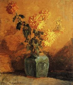 The Athenaeum - Yellow Chrysanthemums in a Ginger Pot (Piet Mondrian - ) Piet Mondrian, Yellow Chrysanthemum, Zinnias, Chrysanthemums, Pictures To Paint, Painting Pictures, Ginger Jars, Types Of Flowers, Van Gogh