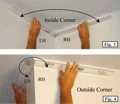 How To Cut And Install Crown Molding And Trim The comprehensive DIY guide to cutting and installing crown molding & trim installation from the construction and home improvement experts. Home Improvement Projects, Home Projects, Furniture Projects, Home Renovation, Home Remodeling, Kitchen Remodeling, Basement Renovations, Diy Crown Molding, Crown Moldings