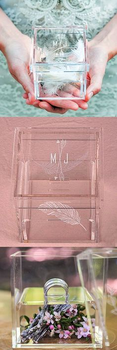 """""""Feather Whimsy"""" Design Personalized Acrylic Ring Box"""