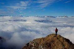 montañas, nubes, cima, hombre, vistas, cielo, 1703311814