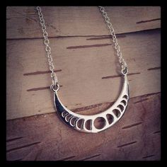 moon phases necklace i need it !!!! Moon Necklace: celestial charm moon charm 925 by MalieCreations