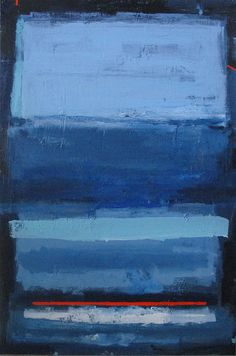 Abstract painting modern minimalist blue color field art large canvas / 36x24 / ELSTON