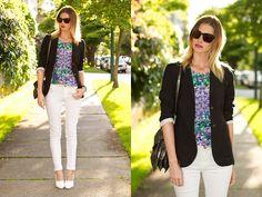 Aritzia Blazer, Sugarlips Secret Garden Top, Zara Jeans, H Wedges, Botkier Bag, Sass & Bide Sunglasses