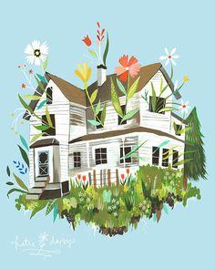 Magie-Bauernhaus-Kunstdruck   Rustikale Wandkunst   Bauernhof-Malerei   Katie Daisy   8 x 10   11 x 14