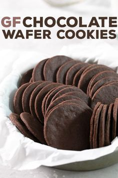 Thin and crispy gluten free chocolate wafer cookies are rich and chocolatey and perfect for making all sorts of no-bake warm weather treats, from icebox cakes to cookie crusts. Stock up for summer! Gluten Free Chocolate Cookies, Chocolate Sin Gluten, Chocolate Wafer Cookies, Chocolate Wafers, Gluten Free Sweets, Gluten Free Cooking, Dairy Free Recipes, Vegan Gluten Free, Fudge Cookies
