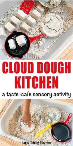 Art therapy activities for toddlers Cloud dough kitchen sensory bin for toddlers and preschoolers Create a fun cloud dough kitchen activity for toddlers and preschoolers that is taste-safe and a great sensory activity! Toddler Sensory Bins, Sensory Activities Toddlers, Art Therapy Activities, Baby Sensory, Toddler Fun, Infant Activities, Toddler Preschool, Babysitting Activities, Nursery Activities